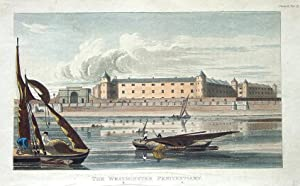 MILBANK PRISON,WESTMINSTER PENITENTIARY, Ackermann Aquatint Antique Print 1817