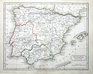 SPAIN & BALEARIC ISLANDS ,HISPANIA ANTIQUA, Original Classical Antique Map c1840