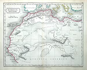 NORTH AFRICA, CRETE, SICILY, Original Classical Antique Map c1840