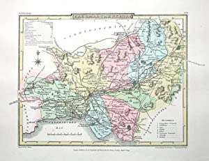 CARMARTHENSHIRE, WALES Roper British Atlas Antique County Map 1809