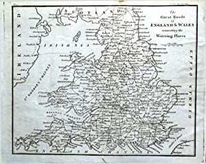 ENGLAND & WALES GREAT ROADS Connecting The Watering Places Antique Map 1804