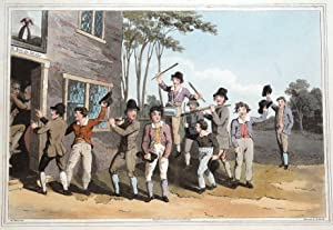 RIDING THE STANG, COSTUME OF YORKSHIRE Walker antique aquatint print 1814