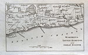 WORTHING LITTLEHAMPTON BOGNOR Towns Villages Original Miniature Antique Map 1804