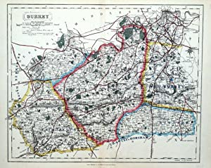 SURREY & LONDON Hobson Foxhunting & Railway Original Antique County Map 1893