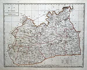 SURREY & LONDON Original Copper Engraved Antique County Map Harrison 1788