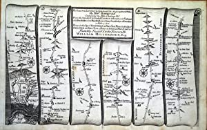 LONDON HIGH BARNET ST ALBANS TOWCESTER Antique Strip Road Map Gardner 1719