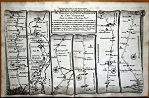 LONDON WALTHAM FOREST WARE ROYSTON STILTON Gardner Antique Strip Road Map 1719