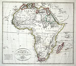 AFRICA, Gaspari original antique hand coloured map 1804