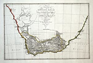 SOUTH AFRICA, CAPE COLONY, Gaspari original hand coloured antique map 1804