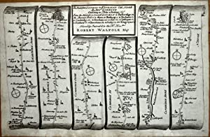 CONTINUATION OF ROAD LONDON TO KINGS LYNN Gardner Antique Strip Road Map 1719