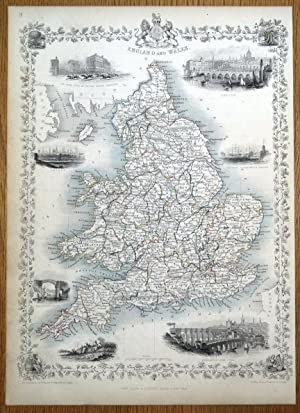 ENGLAND & WALES, Rapkin & Tallis original antique map 1851