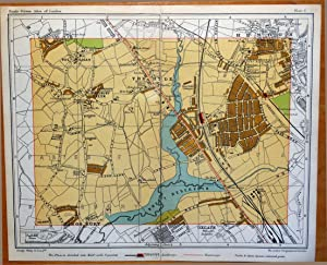 LONDON HENDON KINGSBURY THE HYDE ROE GREEN London Street Plan Antique Map c1910