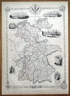 GERMANY Rapkin & Tallis original antique map 1851
