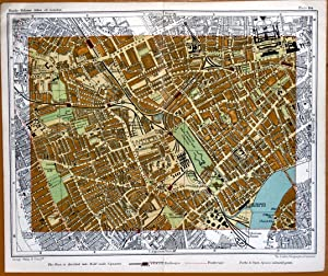 LONDON Vintage Street Plan KENSINGTON EARLS COURT FULHAM Antique Map c1910