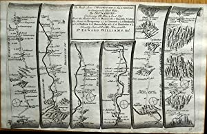 WALES MONMOUTH ABERGAVENNY BRECON LAMPETER Gardner Antique Strip Road Map 1719