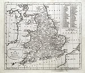 ENGLAND and WALES, original Guthrie antique map 1793