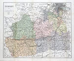 SURREY, LONDON, John Murray original antique map c1885