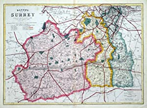 SURREY, LONDON, Railway map B.R.Davies, original antique map 1870
