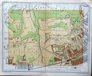 WIMBLEDON RAYNES PARK KINGSTON Vintage London Street Plan Antique Map c1910
