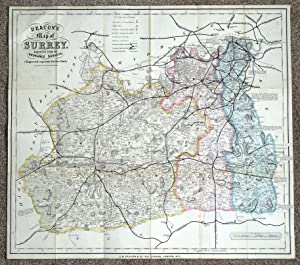 SURREY C.W. Deacon original antique railway map c1880