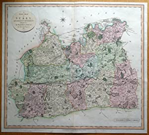 SURREY, John Cary, original large format antique hand coloured map 1801