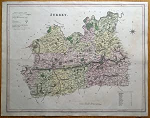 SURREY, LONDON, T.L. Murray original antique hand coloured map 1830