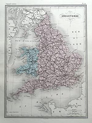 ENGLAND & WALES, Original Malte Brun, hand coloured antique map c1850