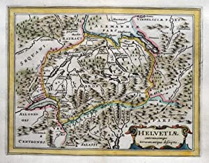 SWITZERLAND, HELVETIA, Cluver, Jansson original antique map 1661