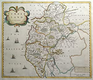 CUMBERLAND, CUMBRIA, Robert Morden, original antique hand coloured map 1722