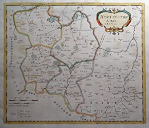 HUNTINGDONSHIRE, Robert Morden, original antique hand coloured map 1722