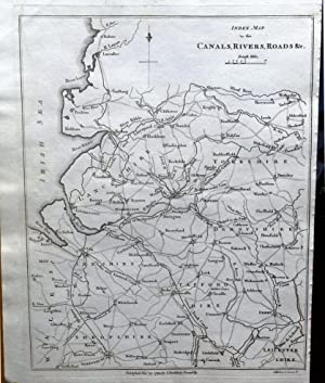 CANALS RIVERS ROADS NORTH WEST ENGLAND Stockdale Original Antique Map 1794