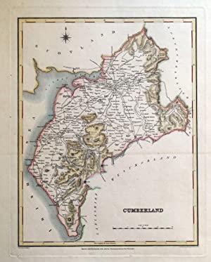 CUMBERLAND, CUMBRIA, Lake District, Lewis original antique map c1835