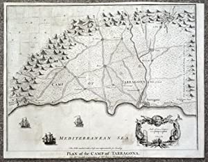 TARRAGONA,SALOU, REUS,VILA-SECA, CATALONIA,SPAIN, Battle plan antique map 1745