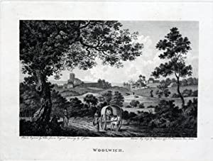 VIEW OF WOOLWICH LONDON Copper Plate Magazine Scarce Antique Vintage Print 1793