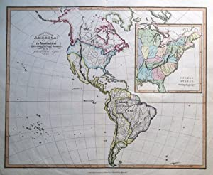 USA, North & South AMERICA, Abbe Gaultier antique map 1829