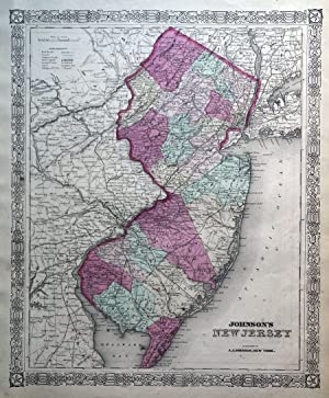 NEW JERSEY, USA, AMERICA Johnson Original Antique Hand Coloured Map c1865
