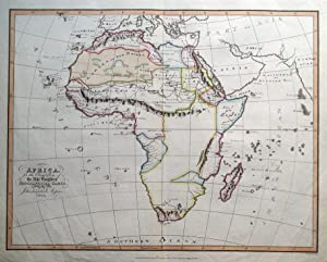 AFRICA, Abbe Gaultier original antique hand finished map 1829
