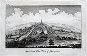 GUILDFORD, SURREY panoramic view, Dodsley original antique print 1764