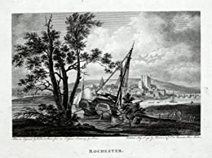 ROCHESTER KENT River Medway Copper Plate Magazine Scarce Antique Print 1794
