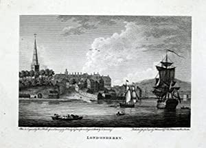 LONDONDERRY IRELAND River Foyle Copper Plate Magazine Scarce Antique Print 1793