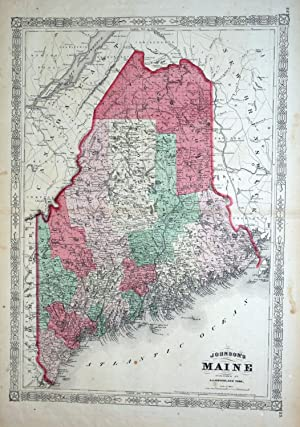 STATE OF MAINE USA AMERICA Johnson Original Antique Hand Coloured Map c1865