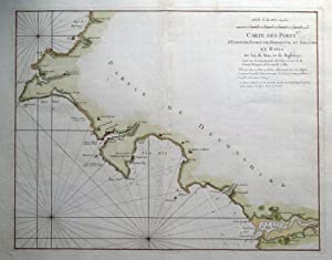 DARTMOUTH, TEIGNMOUTH, EXMOUTH,SALCOMBE, DEVON G.Collins Sea Chart antique map 1757