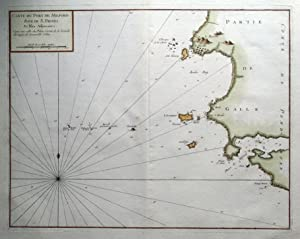 St.DAVID'S, St.BRIDE'S BAY, SKOMER, WALES G.Collins Sea Chart antique map 1757