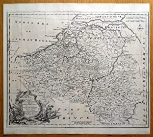 NETHERLANDS, LOW COUNTRIES, Belgium, Luxembourg RW.Seale antique map 1745