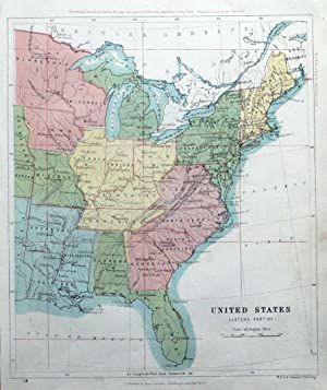 UNITED STATES of America, Eastern. Johnston, original antique map 1862