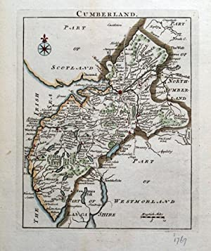 CUMBERLAND, Cumbria, John Rocque, Original Antique map 1769
