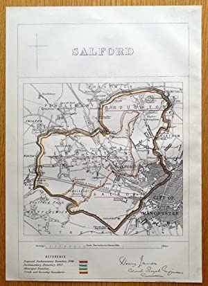 SALFORD, MANCHESTER, Eccles,Cheetham, Pendleton,Seedley original antique map 1868
