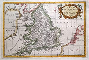 ENGLAND & WALES, UK, BRITAIN, John Lodge original antique hand coloured map 1782