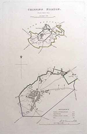 CHIPPING NORTON, OXFORDSHIRE, Street Plan, Dawson Original antique map 1832
