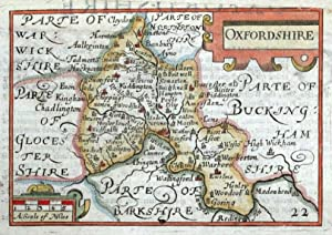 OXFORDSHIRE, Van Den Keere, Miniature Speed original antique map c1650